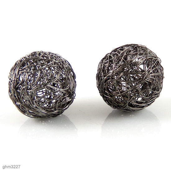 Wire Wrapped Sphere Beads: Pack of 2 (Galvanized Hematite)