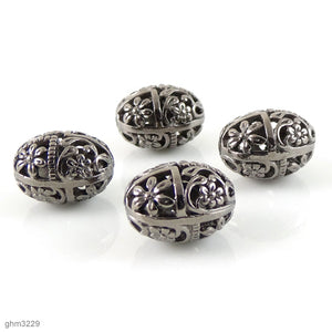 "High quality Zinc alloy ""Zamak"" filigree beads. Galvanized hematite finish.  Each bead is 15mm end-to-end. Pack of 4"