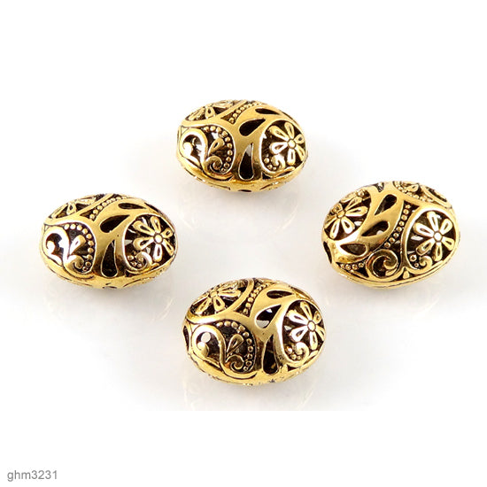 "Pack of 4 High quality Zinc alloy ""Zamak"" filigree beads. Antiqued, galvanized brass finish.  Each bead is 20mm end-to-end."
