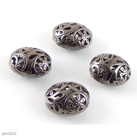 "High quality Zinc alloy ""Zamak"" filigree beads. Galvanized hematite finish.  Each bead is 20mm end-to-end."