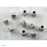 Silver-plated metal alloy slider beads with 5mm hole. Beads are aprox. 10mm wide and 8mm long.  Sold in groups of 10 pieces.