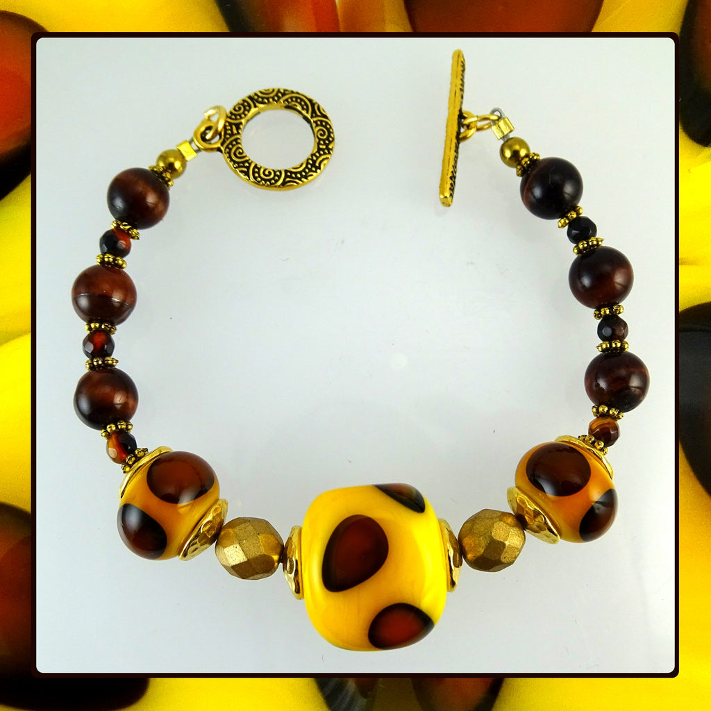 Bracelet w/ Our Own Handmade Lampwork Beads & Tiger's Eye stone