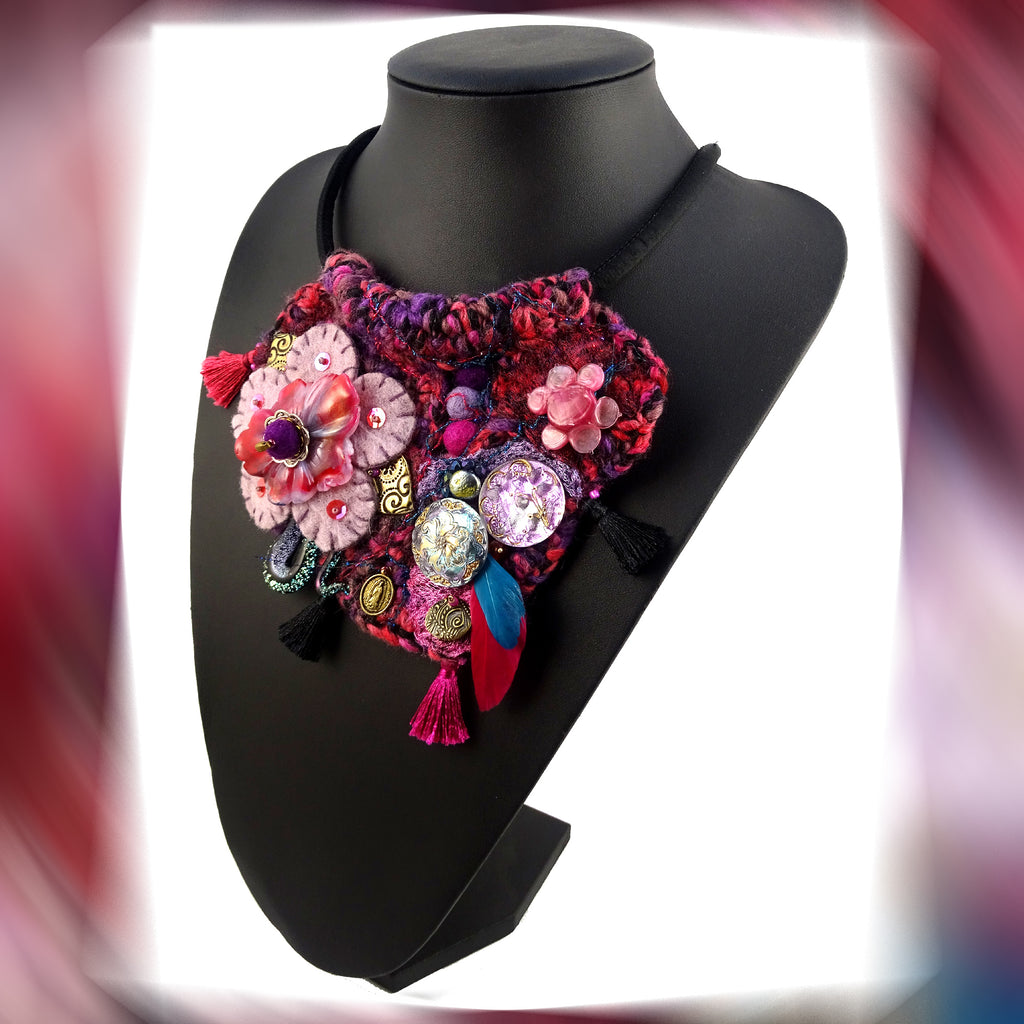February's Flower: Collage-Treasure Necklace