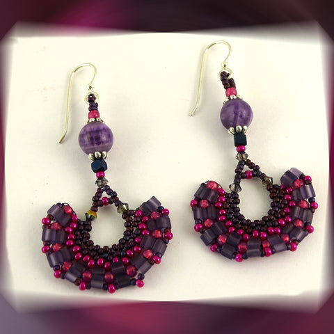 Wedge Petal Weave Earrings: Berry Swirl