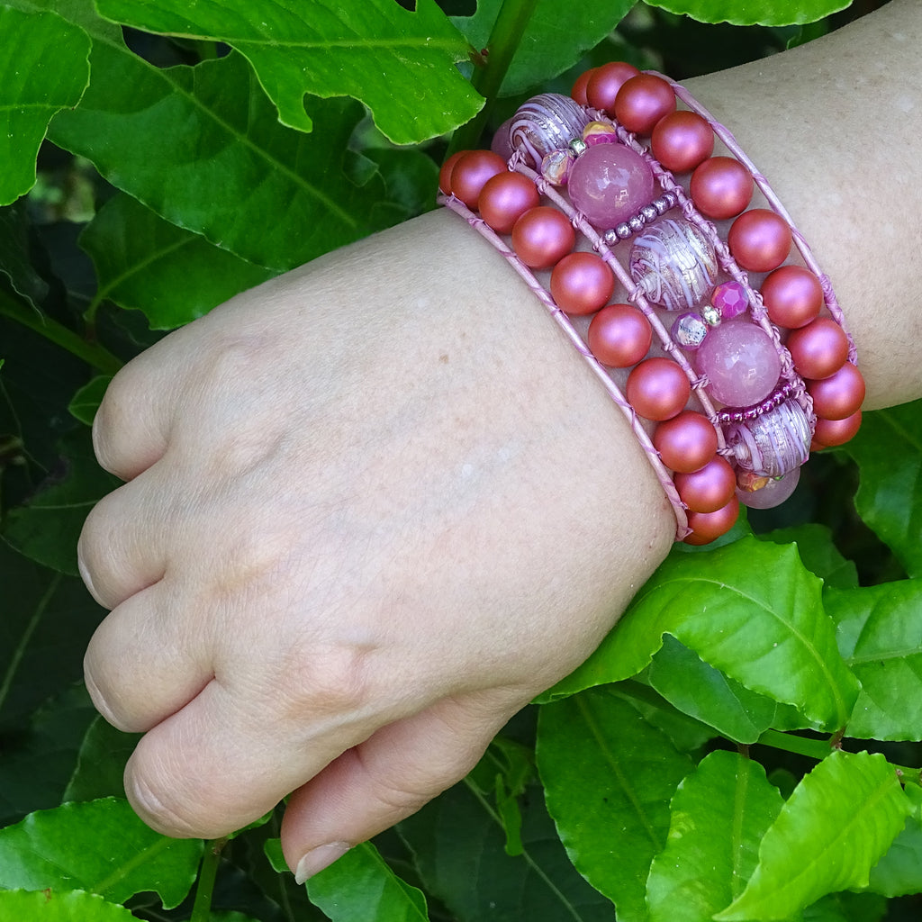 The Big Pink: Triple Row Leather Boho-Wrap Bracelet
