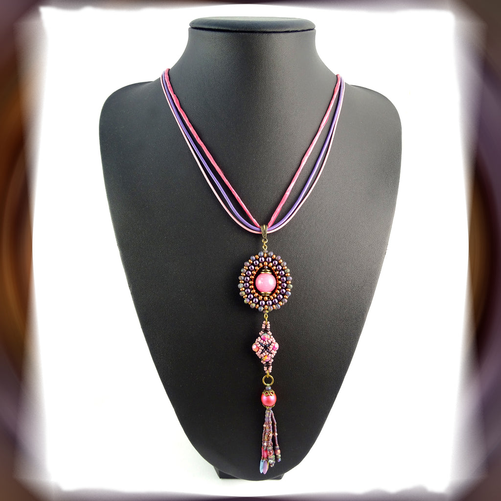 Pink Moon Halo Pendant Necklace