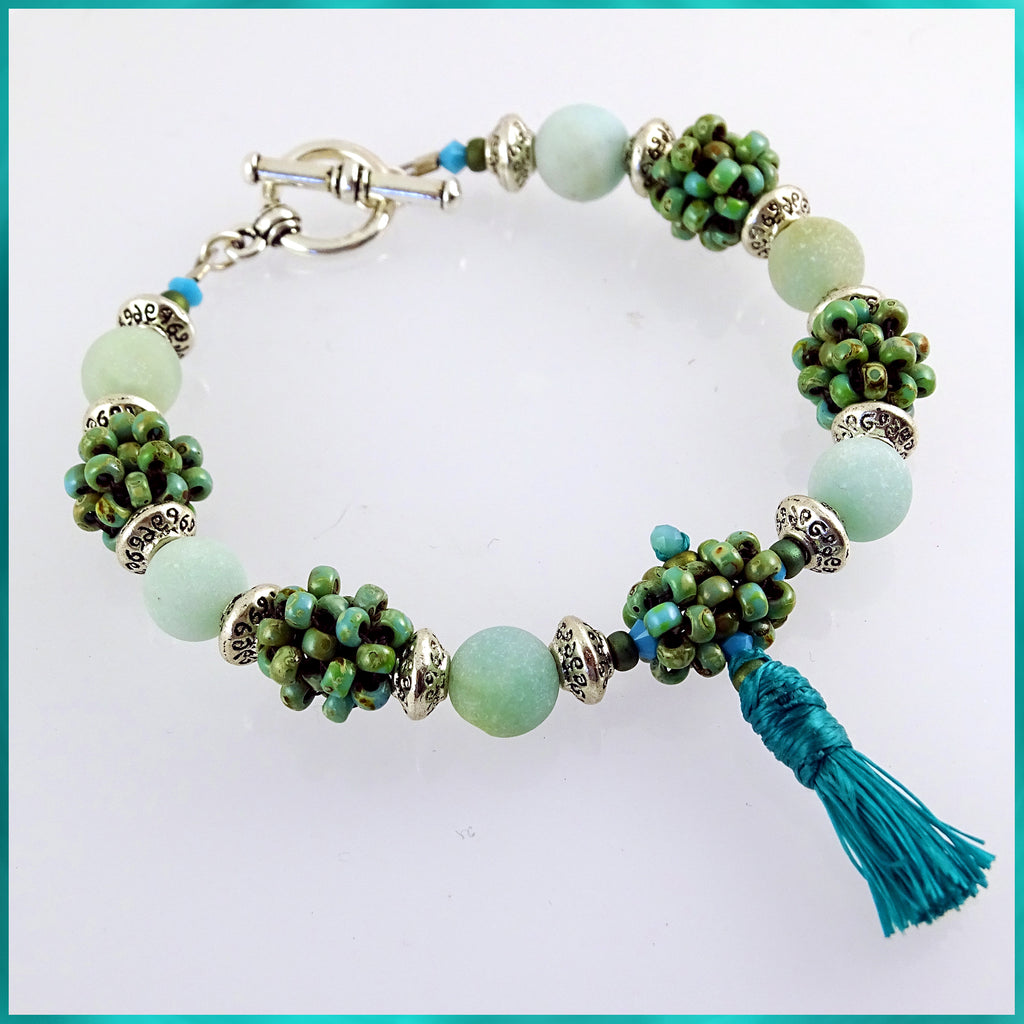 """Clarity"" Mala Bracelet: Frosted Amonzonite & Hand-Woven ""Berry Beads"""