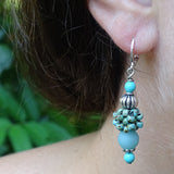 """Clarity"" Earrings: Frosted Amonzonite & Hand-Woven ""Berry Beads"""