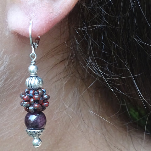 """Lady Luck"" Earrings: Grade-A Garnets & Hand-Woven ""Berry Beads"""