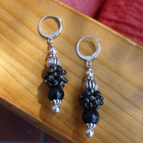 """It's a Mystery"" Earrings: Black Obsidian & Hand-Woven ""Berry Beads"""
