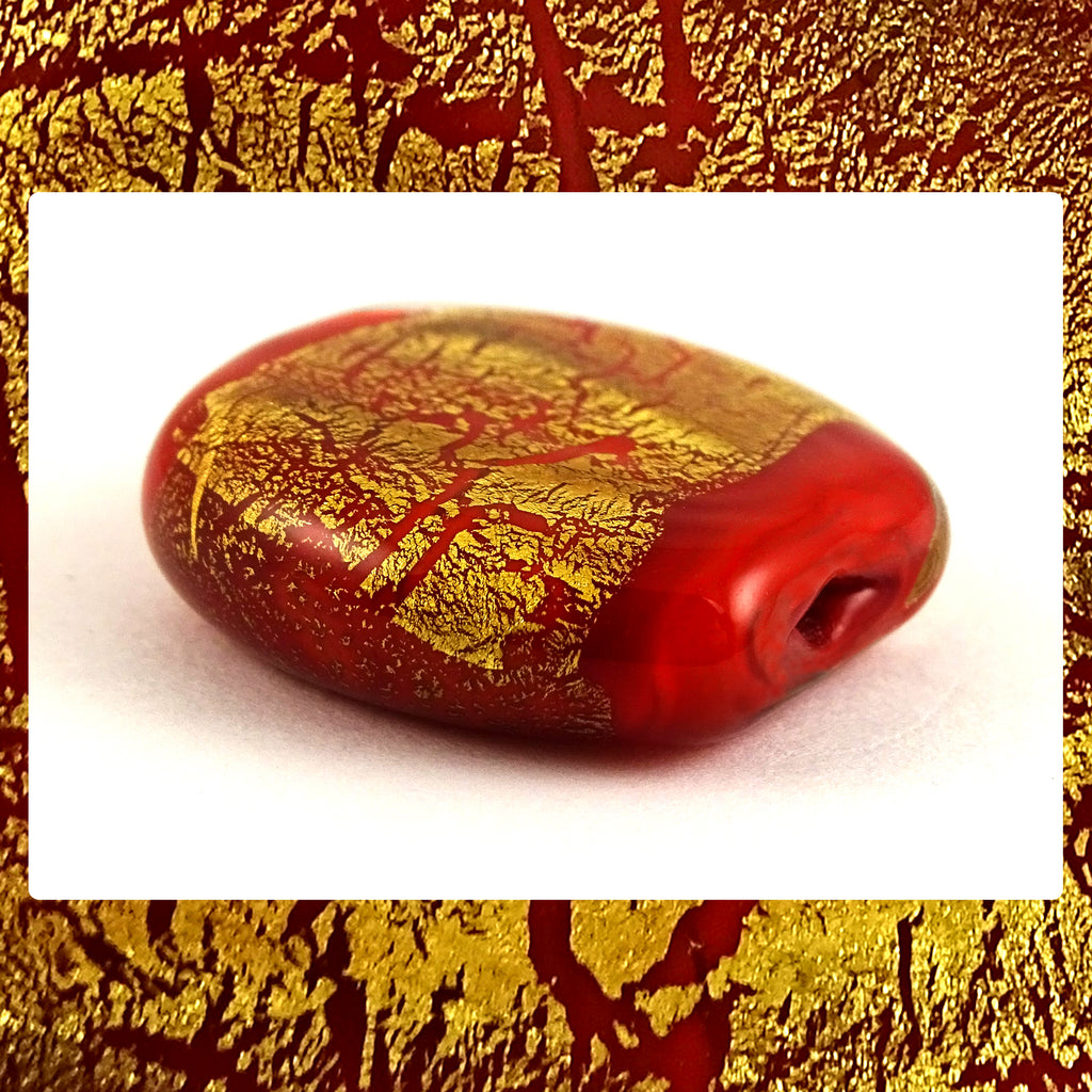 Handmade Glass Lampwork Bead - Sold Individually: Red/Gold Leaf Shimmer (Focal)