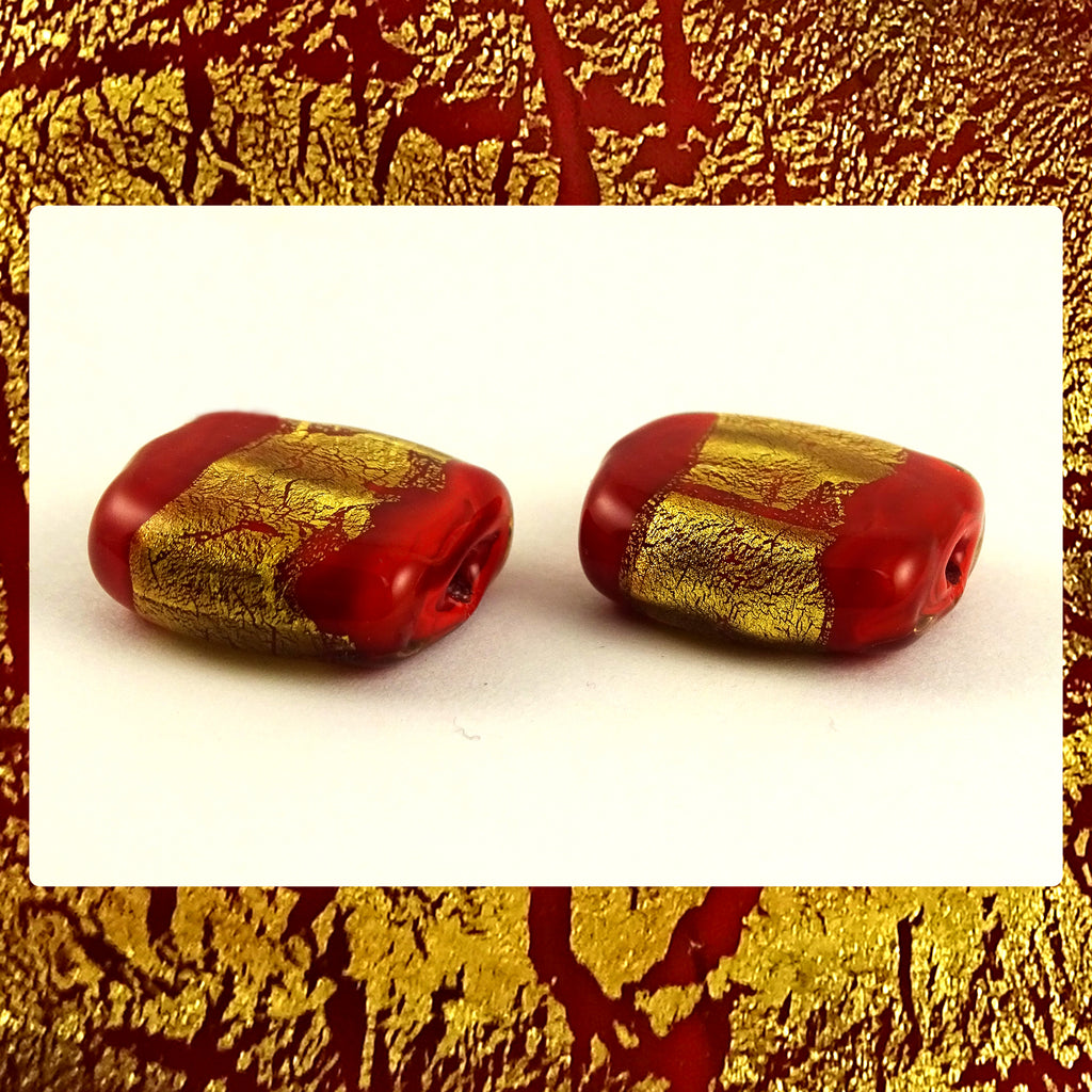 Handmade Glass Lampwork Beads - Sold By The Pair: Red/Gold Leaf Shimmer