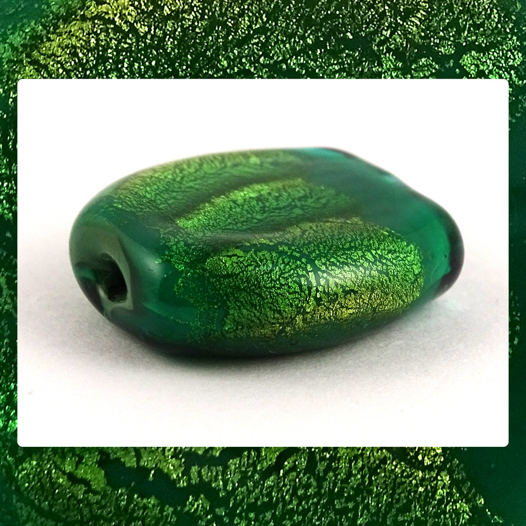 Handmade Glass Lampwork Bead - Sold Individually: Green/Gold Leaf Shimmer (Focal)