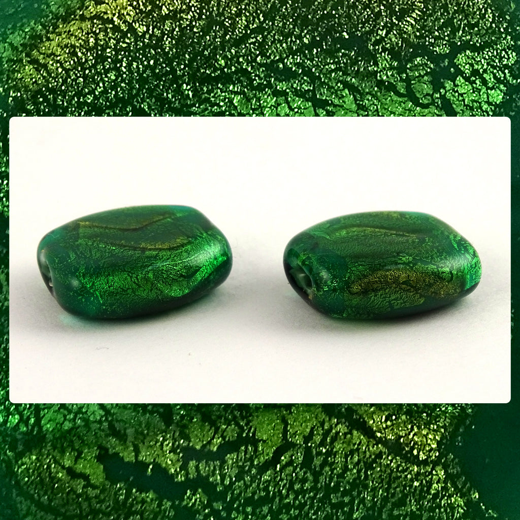 Handmade Glass Lampwork Beads - Sold By The Pair: Green/Gold Leaf Shimmer