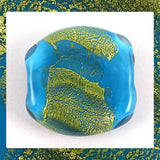 Handmade Glass Lampwork Bead - Sold Individually: Blue/Gold Leaf Shimmer (Focal)