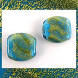 Handmade Glass Lampwork Beads - Sold By The Pair: Blue/Gold Leaf Shimmer