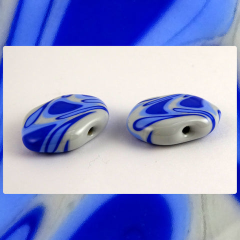 Handmade Glass Lampwork Bead - Sold By The Pair: Blues On Light Gray