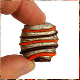 Handmade Glass Lampwork Bead: Orange Swirls on Distressed Silver Leaf