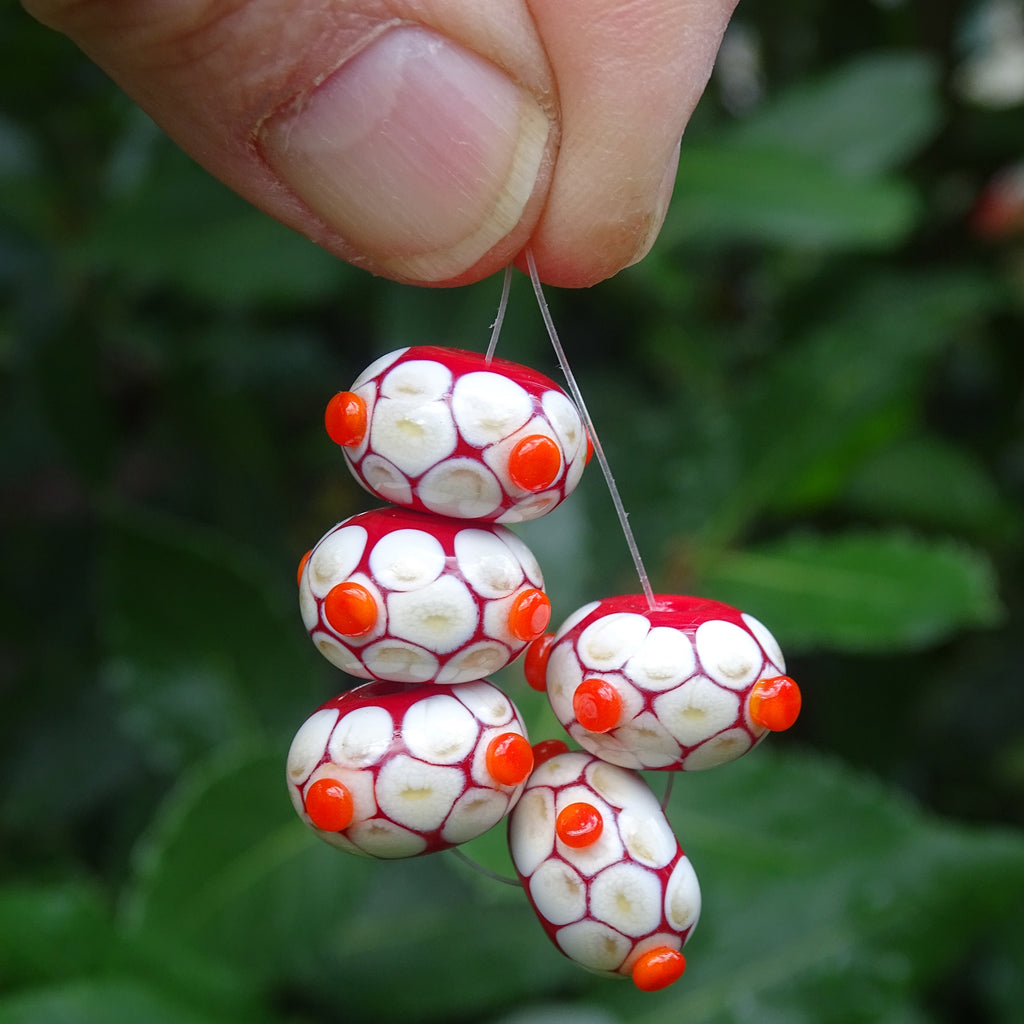 Handmade Glass Bead Set: 5 Lampwork Beads with Raised Dots
