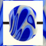 Handmade Glass Lampwork Bead - Sold Individually: Blues On Light Gray (Focal)