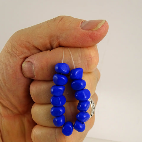Handmade Glass Bead Set: 13 Lampwork Beads (Lapis Nuggets)