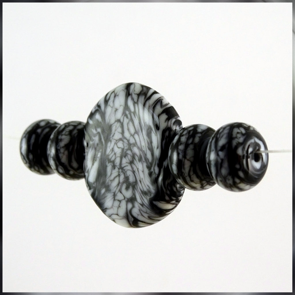 Handmade Glass Bead Set: 5 Lampwork Beads with Black & White Swirl Decoration