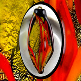 Hand-Pulled Glass Pendant: Gold Leaf, Black, Yellow, Orange & Murrine