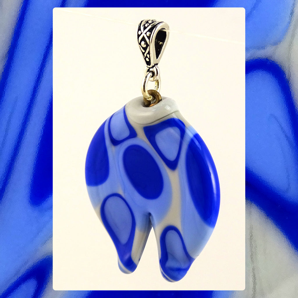 Hand-Pulled Glass Pendant: Blues On Light Gray