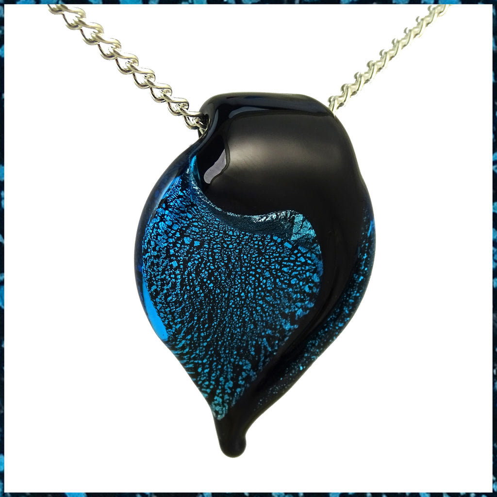 Hand-Pulled Glass Pendant Necklace: Black, Aqua Blue & Silver Leaf