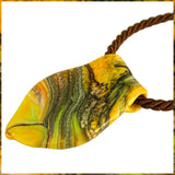 Hand-Pulled Glass Pendant Necklace - Organic Mix: Distressed Silver, Yellows & Greens