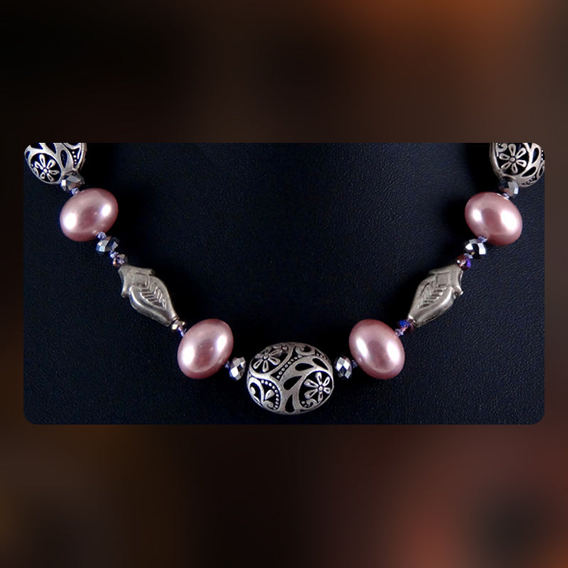Necklace Featuring South-Sea Pearls and Cut Crystal Beads