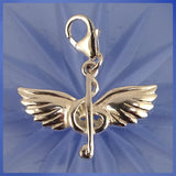Sterling Silver Charm: Musical Note With Wings