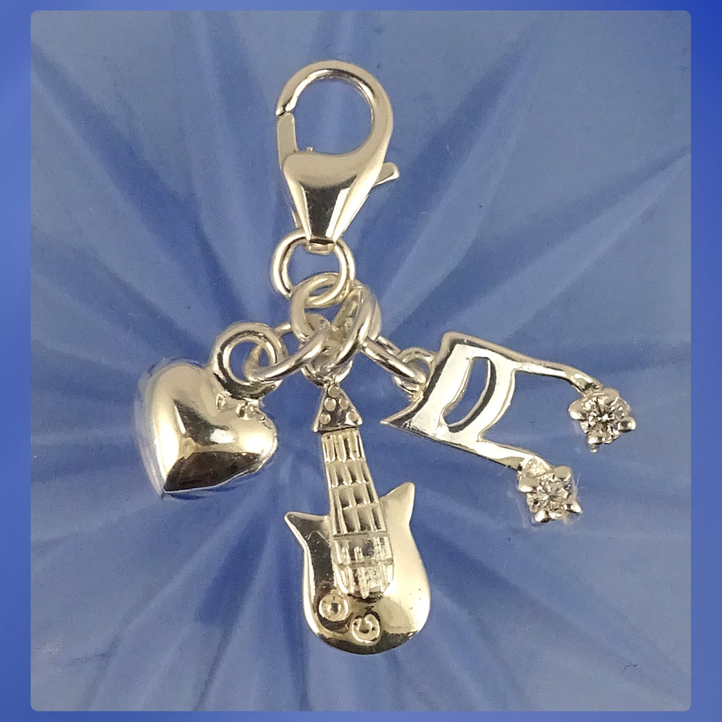 Sterling Silver Charm: I Love Music