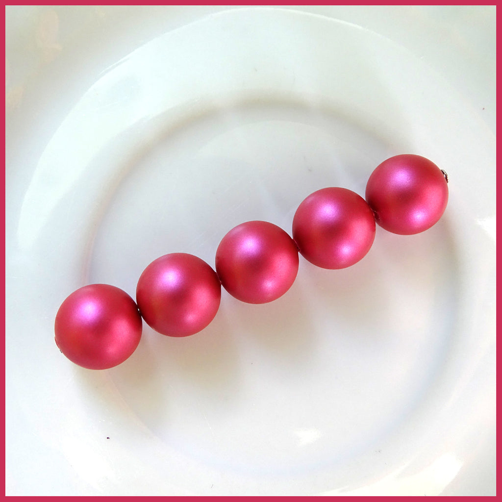 Swarovski Crystal Pearls: 10mm / Mulberry Pink / Bag of 5 Pieces (5810)