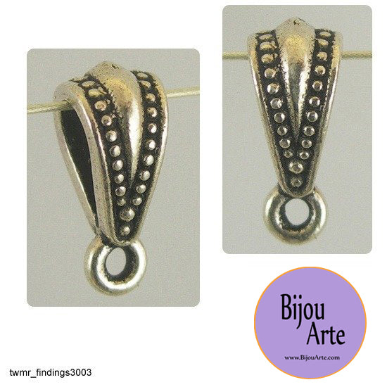 Jewelry Design Bail: Lead Free Silver-Plated Pewter