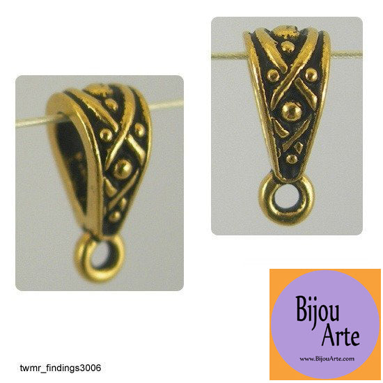 Jewelry Design Bail: Lead Free Gold-Plated Pewter