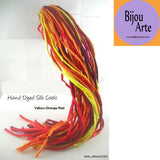 Hand Dyed Silk-Satin Cords: Yellow - Orange - Red (4-5mm width)