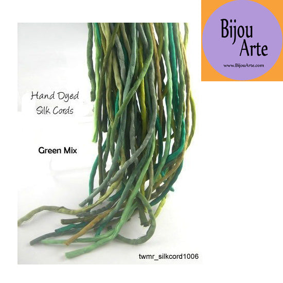 Hand Dyed Silk-Satin Cords: Green Mix (4-5mm width)