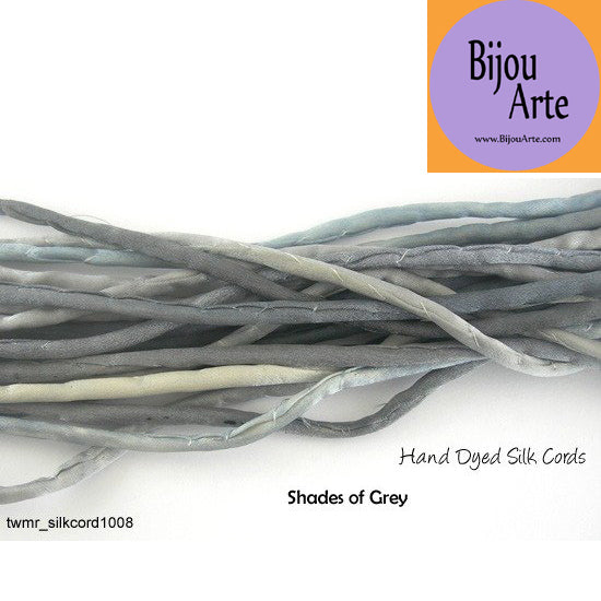 Hand Dyed Silk-Satin Cords: Shades of Grey (4-5mm width)