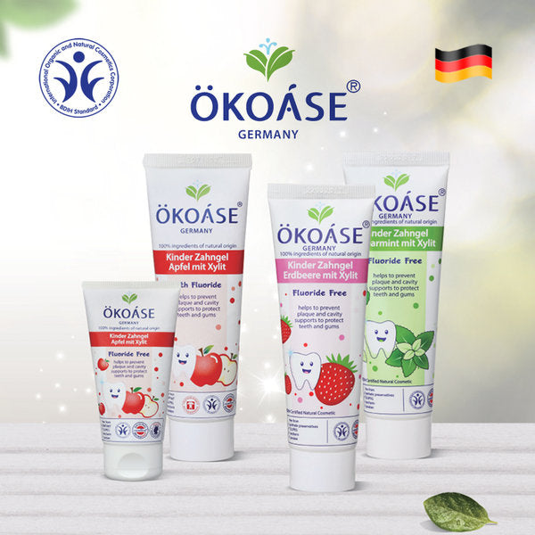 OKOASE 100% Natural Organic with Fluoride Apple Flavour ToothGel 50g (2 to 6 years old)