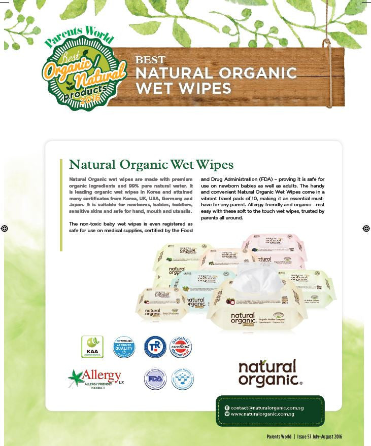 Natural Organic Original Baby Wet Wipes (100 sheets x 10 packs)