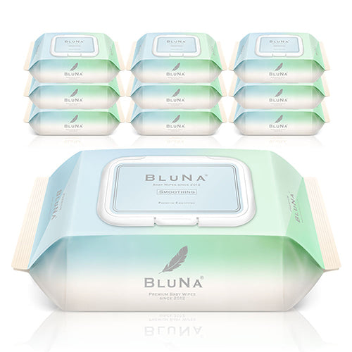 Bluna Organic Smoothing Premium Embossing Wipes with CAP (72 sheets x 10 packs)