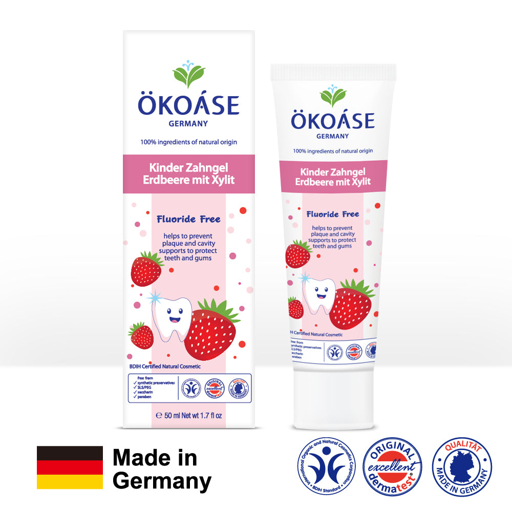 OKOASE 100% Natural Organic Fluoride-Free Strawberry ToothGel 50g (6 to 24 months old)