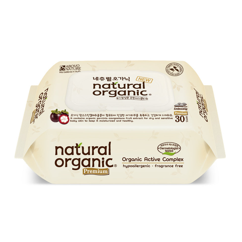Natural Organic Premium Portable Wet Wipes with Cap (30 sheets)