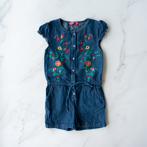 Denim Embroidered Playsuit