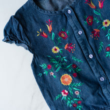 Load image into Gallery viewer, Denim Embroidered Playsuit