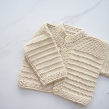 Load image into Gallery viewer, Oatmeal Cotton Handknit Cardigan (6-12m)