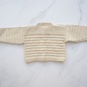 Oatmeal Cotton Handknit Cardigan (6-12m)