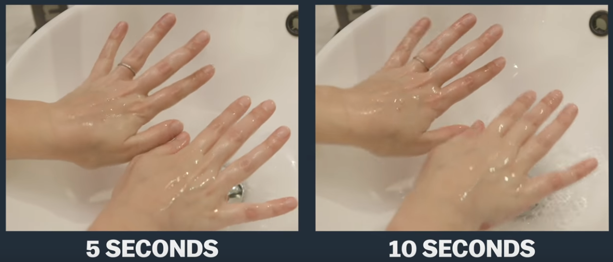 washing hands normally