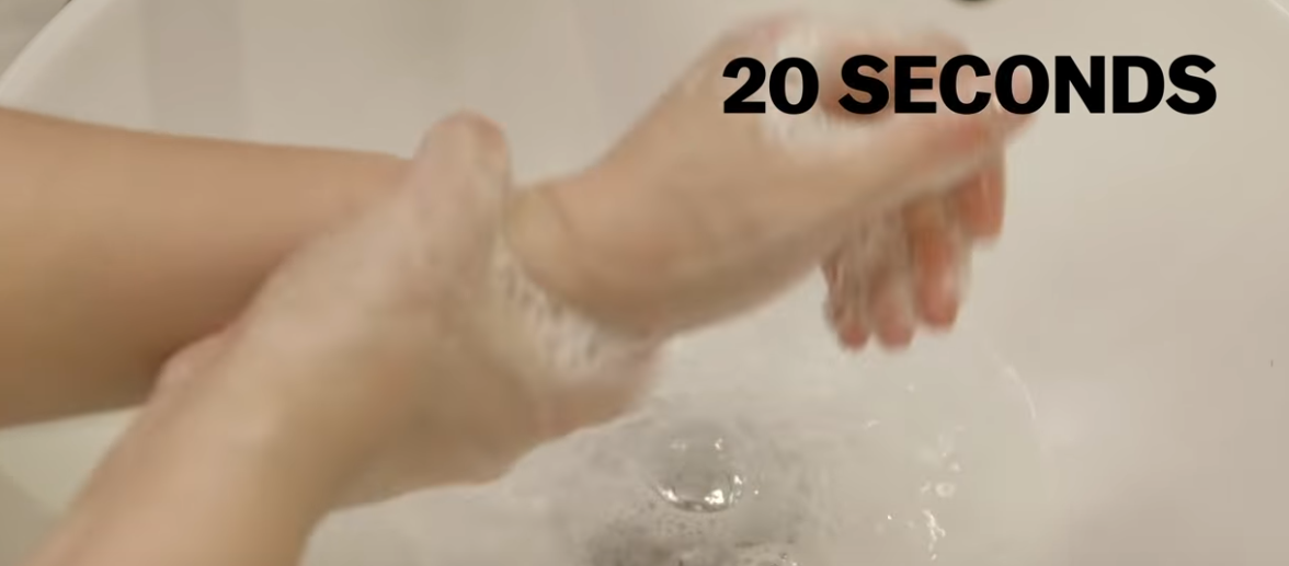 washing hands for a full 20 seconds